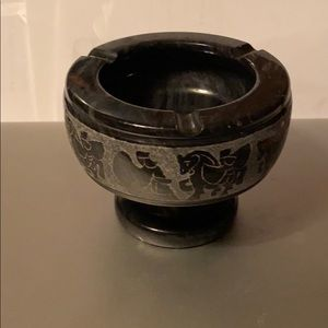 Antique Black Marble Footed Ashtray